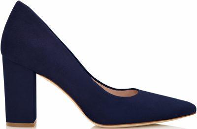 Navy Josie Midnight Block Heel Pointed Court Heels-Emmy London
