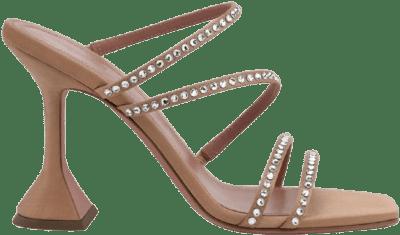 Nude Naima Crystal Silk Slide Sandals-Amina Muaddi