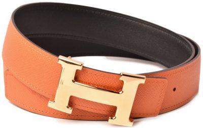 Orange Leather Belt