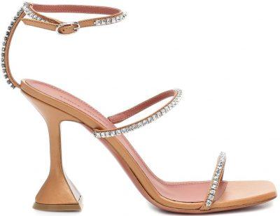 Pearly Nude Gilda Embellished Leather Sandals-Amina Muaddi