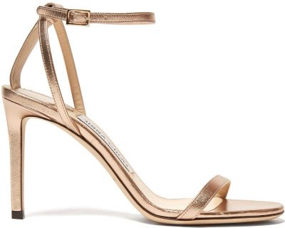Rose Gold Minny 85 Metallic-Leather Sandals-Jimmy Choo