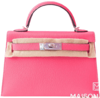 Rose Lipstick Chèvre Mysore Mini Kelly II Handbag-Hermes