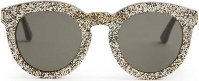 Round-Frame Glitter Sunglasses-Saint Laurent