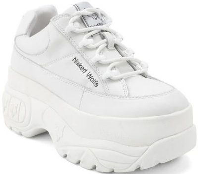 Sporty White Leather Sneaker-Naked Wolfe