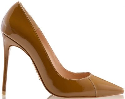 Tan Paris Patent Leather Pointy Toe Heels-House Of CB