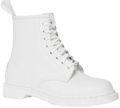 White 1460 Mono Smooth Leather Lace Up Boots-Dr. Martens