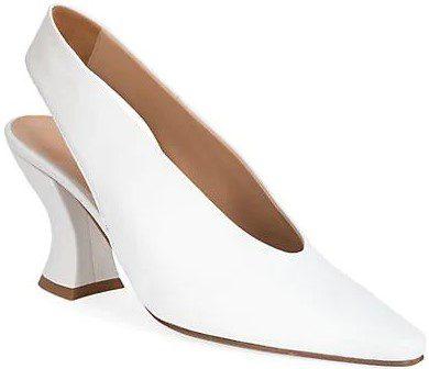 White Almond Leather Slingback Pumps-Bottega Veneta