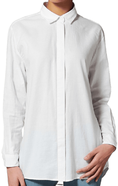 White Caico Button-Down Blouse-Samsøe Samsøe