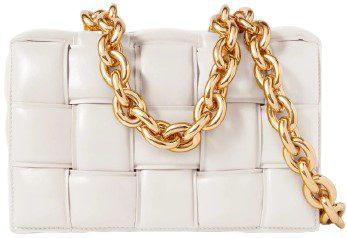 White Cassette Chain-Embellished Padded Intrecciato Leather Shoulder Bag-Bottega Veneta