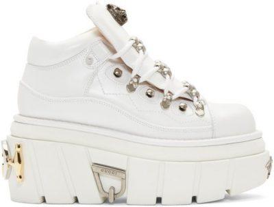White Koire Platform Boots-Gucci