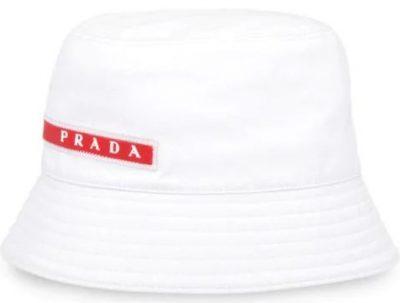 White Linea Rossa Logo Stripe Bucket Hat