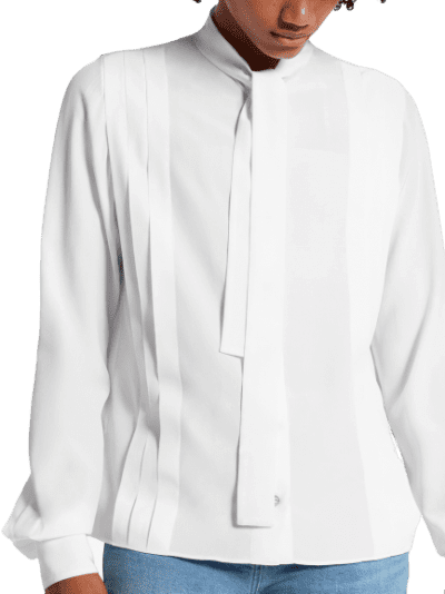 White Long Sleeved Pleated Shirt With Lavaliere-Louis Vuitton