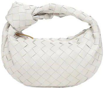 White Mini Jodie Intrecciato Leather Bag-Bottega Veneta