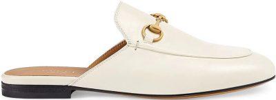 White Princetown Horsebit Motif Mules-Gucci