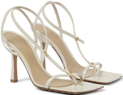 White Stretch Leather Sandals-Bottega Veneta