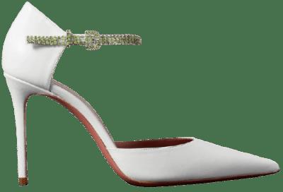 White Ursina Crystal-Embellished Leather Pumps