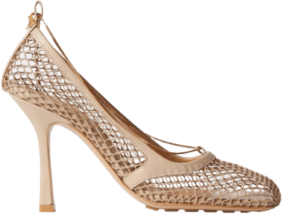 Beige Chain-Embellished Macramé And Leather Pumps