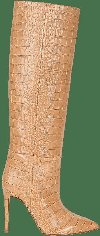 Beige Crocodile Print Boots