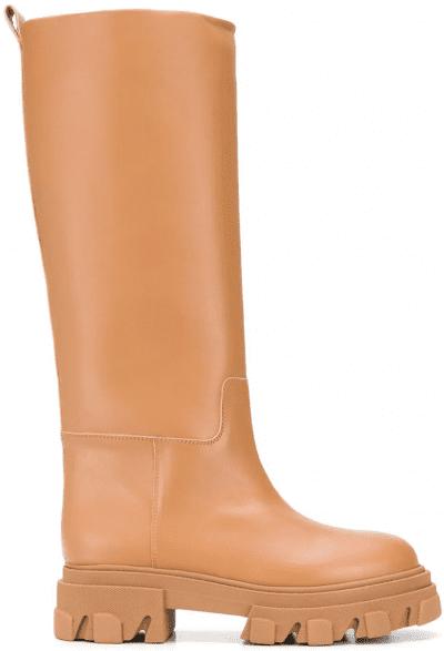 Beige Perni Knee Boots
