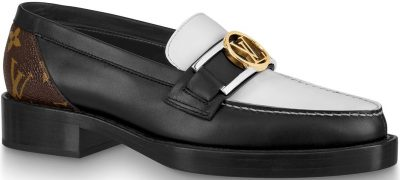 Black And White Academy Flat Loafer-Louis Vuitton