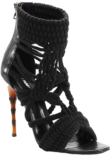Black Braided Rope Sandals