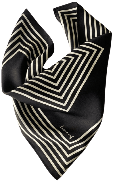 Black & Cream Silk Scarf