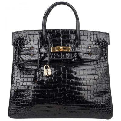 Black Crocodile Lisse Hac Bag