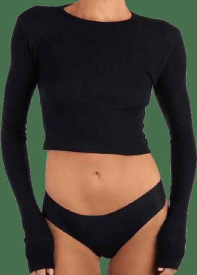 Black Cropped Long Sleeve Thermal Top