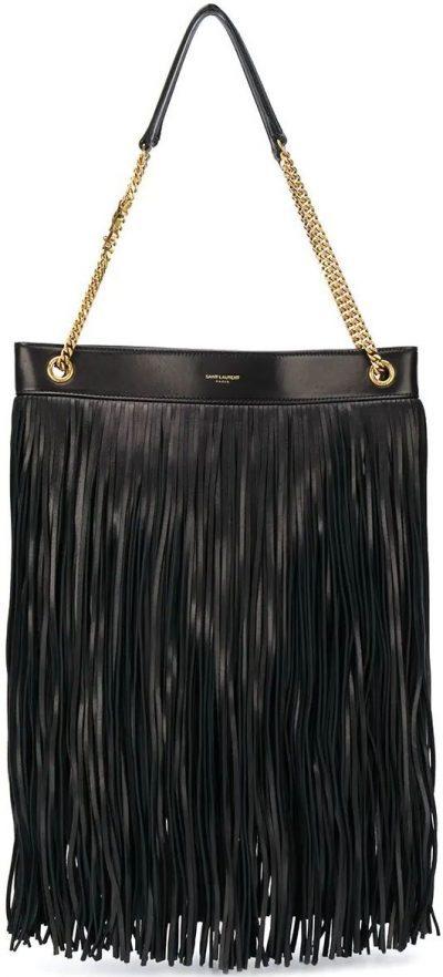 Black Fringed Leather Shoulder Bag-Saint Laurent