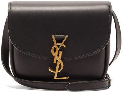 Black Kaia Ysl-Plaque Leather Satchel-Saint Laurent