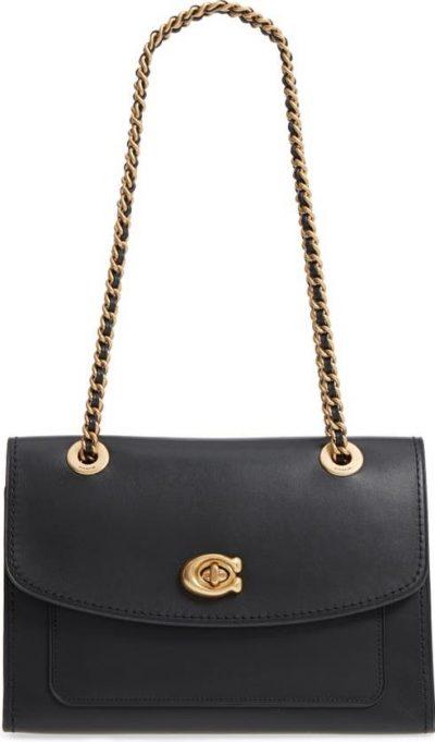 Black Parker Leather Shoulder Bag