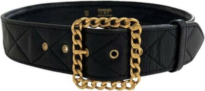 Black Quilted Belt-Chanel