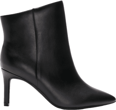 Black Wide Pointy Toe Ankle Booties