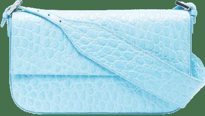 Blue Manu Croco Embossed Bag
