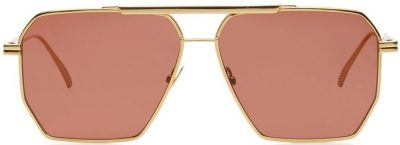 Brown Square-Frame Aviator Metal Sunglasses-Bottega Veneta