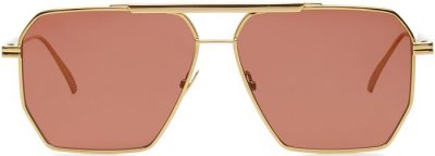 Brown Square-Frame Metal Sunglasses-Bottega Veneta