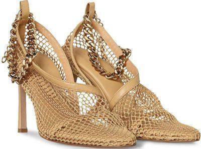 Gold Chain-Embellished Mesh Sandals