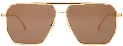 Gold Hexagonal Logo Aviator Metal Sunglasses