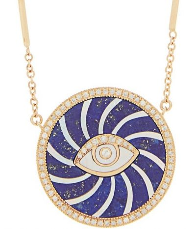 Gold Swirl Eye Diamond Lapis Lazuli & Pearl Necklace
