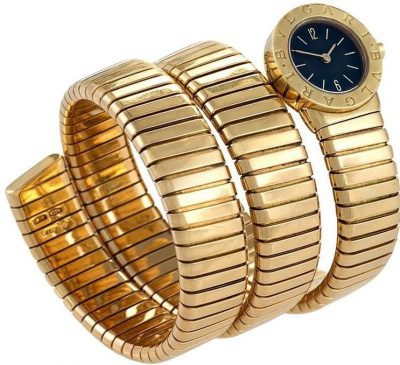 Gold Triple Twist Tubogas Serpenti Wristwatch