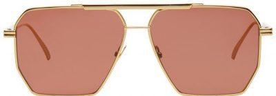 Gold and Burgundy Angular Pilot Sunglasses