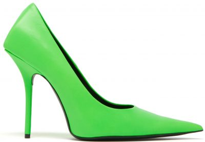 Green Square Knife Leather Pumps