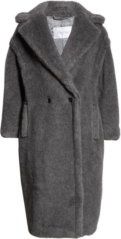 Medium Grey Teddy Bear Icon Faux Fur Coat-Max Mara