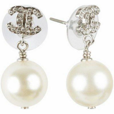 Silver Crystal Pearl CC Drop Earrings