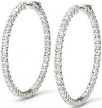 Silver Forever One Moissanite Hoop Earrings-Raven Fine Jewelers