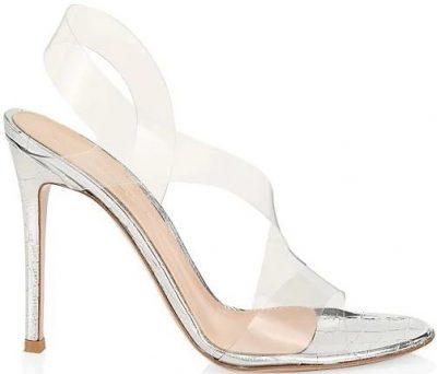 Silver Metropolis PVC & Croc-Embossed Metallic Leather Slingback Sandals-Gianvito Rossi