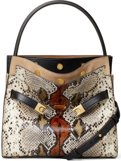 Small Lee Radziwill Snake Embossed Leather Double Bag-Tory Burch