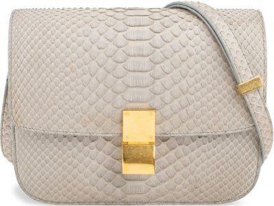 Stone Grey Python Box Bag