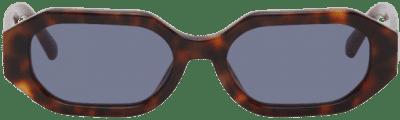 Tortoiseshell Linda Farrow Edition Irene Hexagonal Sunglasses-The Attico