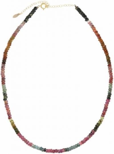 Watermelon Tourmaline Faceted Gemstone Beaded Necklace-Kris Nations